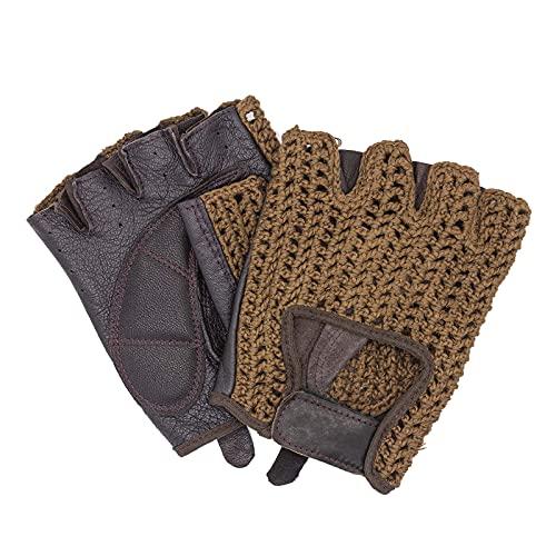 Guantes de conducción retro vintage de piel, sin dedos, para ciclista, color marrón oscuro