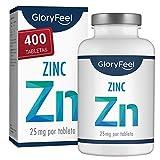 Zinc 25mg 400 Tabletas - Alta dosificación y vegano - 25 mg de Zinc elemental procedente de gluconato de zinc puro para 1 año - Probado en laboratorio sin aditivos