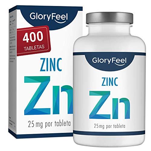 Zinc 25mg 400 Tabletas - Alta dosificación y vegano - 25 mg de Zinc elemental procedente de gluconato de zinc puro para 1 año - Probado en laboratorio sin aditivos - Hecho en Alemania