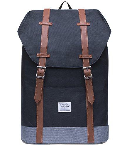 KAUKKO Rucksack Damen Herren Vintage Reiserucksack für 14' Notebook Lässiger Daypacks Schultaschen