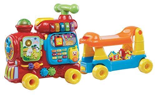 VTech Baby ABC-Eisenbahn – Rutschfahrzeug, Zieh- oder Laufwagen und Spielboard mit Zahlen, Buchstaben, Farben, Tieren und Musik – Für Kinder von 12-36 Monaten