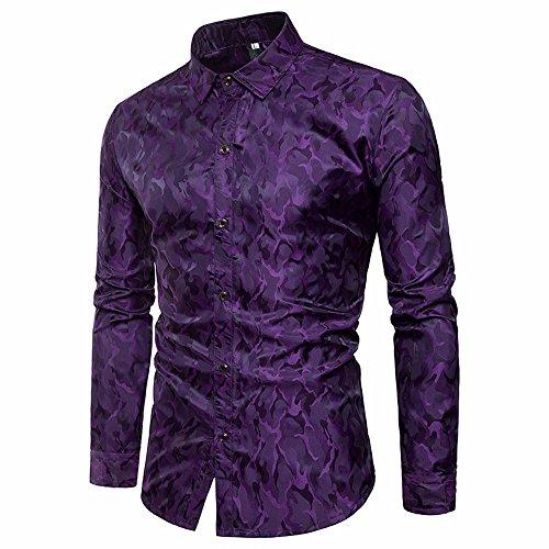 Hombre Camisa,ZODOF Camiseta para Hombre Casual Manga Larga Negocio Ajustado Impresión Retro Negocio Botón Formal Blusa Tops Camisa de Hombre