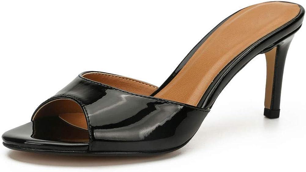 Women's Open Peep-toe Slide Sandals Mule Shoes Stiletto High Heels
