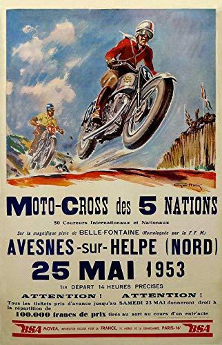 HALEY GAINES Moto Cross Métal Mur Affiche Vintage Étain Mural Signe Décorative Métallique Panneau Rétro Plaque pour Bar Cafés Cuisines Maison Garages 20×30cm