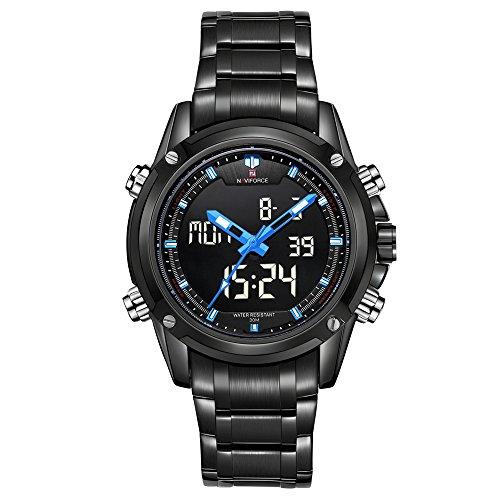 NAVIFORCE Marca Sport Reloj de pulsera digital LED de acero (azul)