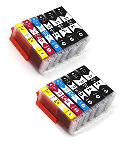 Printercartridges met chip compatibel met Canon PGI-570 CLI-571 geschikt voor Canon Pixma printers MG-5700 MG-5750 4 Photo Schwarz,2 Schwarz, 2 Cyan,2 Magenta,2 Gelb