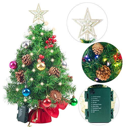 Joiedomi 23' Prelit Tabletop Christmas Tree with Multicolored Lights, Holly Berries, Pine Cones, Star Tree Topper & Ornaments for Best Holiday Season Decorations