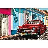 GREAT ART® Mural de pared – Auto Antiguoen La Habana – Coche Ilustración De La Obra Arte Cuba Rojo Chevrolet Salón Motivo Calle Cubana Foto Tapiz Y Decoración (210 x 140 cm)