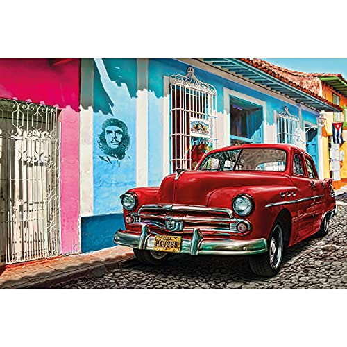 GREAT ART® XXL Poster – Oldtimer in Havanna Wanddekoration – Auto Wandbild Kuba Artwork Illustration Roter Chevrolet Wohnzimmer Kunst Motiv Kubanische Straße Dekoration (140 x 100 cm)