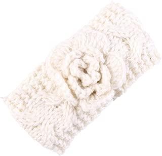 Baby Crochet Knitted with Flower Headband Braided Ear Warmer Hair Headwrap JA41
