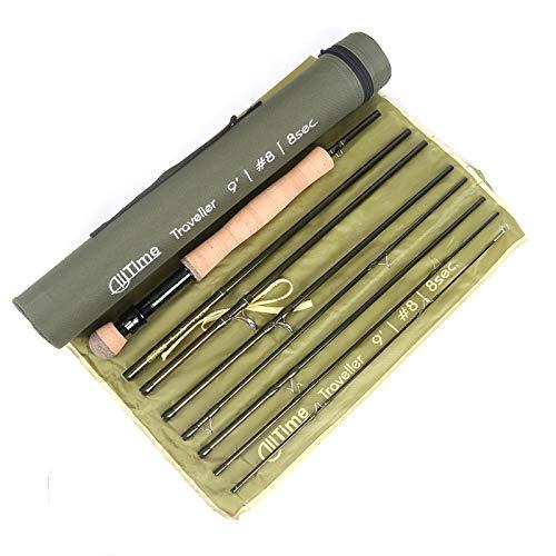 Maximumcatch Alltime Traveller Fliegenfischen Rute-Ultra kompakt für Rucksack 8 Teile 9ft mit Cordura Rohr(Größe: 5/6/8wt) (9' 8wt 8 Teile)