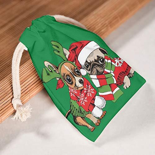 O5KFD & 8 12er Set Drawstring Canvas Koord Party Bag ademende Produce Pouch Bag Use for Nieuwjaar verjaardag gift Wrap Bags - Stijl Print 12 * 18cm wit