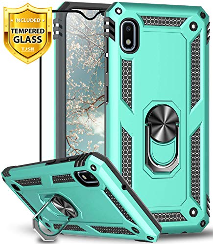 TJS Phone Case for Samsung Galaxy A10E 5.8' (Not Fit Galaxy A10/M10), with [Full Coverage Tempered Glass Screen Protector][Impact Resistant][Defender][Metal Ring][Magnetic Support] Armor (Teal)