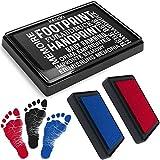 kiinda Baby Fuß- oder Handabdruck Set in 3 Farben - sichere wiederverwendbare Baby Stempelkissen, leicht von der Haut abwaschbar, ideales Geschenk (SET rot/blau/schwarz)