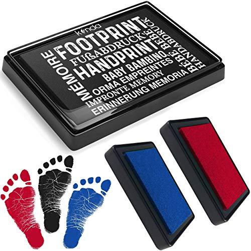 kiinda Baby Fuß- oder Handabdruck Set in 3 Farben | sichere wiederverwendbare Baby Stempelkissen | leicht von der Haut abwaschbar | ideales Geschenk (SET rot/blau/schwarz)