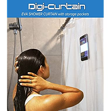 Digi-Curtain SHOWER CURTAIN HOLDER FOR IPAD AND IPHONE, DIGI-SCREEN. Nickel Brushed Double Sided Hooks INCLUDED!!