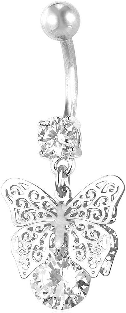 U7 Hot Women Body Piercing Jewelry Cubic Zirconia Crystal Butterfly Dangle Belly Ring Navel Jewelry