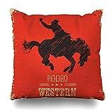 45x45CM Fundas de Almohada Red West Western Cowboy montando caballo salvaje del lazo Transpirable Suave Fundas de Cojín del Coche para Sofá Cama