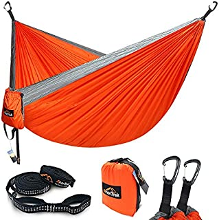 Camping Hammock, Anortrek Lightweight Portable Single & Double Hammock with Tree Straps [10 FT/18+1 Loops], Parachute Hammock for Camping, Hiking, Garden, Yard (Orange&Grey, Double 78''W x 118''L)