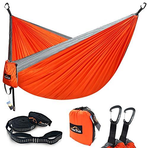 AnorTrek Camping Hammock, Lightweight Portable Single & Double Hammock with Tree Straps [10 FT/18+1 Loops], Parachute Hammock for Camping, Hiking, Garden, Yard (Orange&Grey, Single 55''W x 112''L)