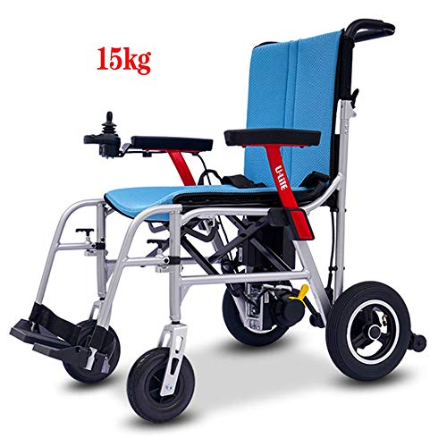 Ultraleicht Motorisierten Rollstuhl, 15kg One Hand Heben Kann Magnesium-Legierung, 10AH Lithium-Batterie Im Kofferraum Des Autos Schnell Gefalteten Platz Platziert Werden Kann ( Size : Two batteries )