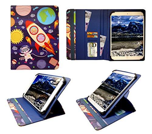 Sweet Tech Xoro PAD 900 / Xoro PAD 9A2 9 Inch Tablet Karikatur Astronauten Universal 360 Grad Wallet Schutzhülle Folio mit Kartensteckplätzen (9-10 Zoll