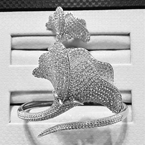 ZIRCOSHNY - Conjunto de joyas para mujer, diseño africano de novia, anillo plateado