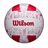 Wilson WTH10320XB Balón de Voléibol, Seasonal , Uso Exterior, Motivos Veraniegos, Rojo