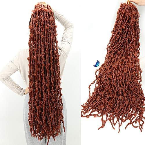 5 Packs 36 Inch Butterfly Locs Crochet Hair Distressed Faux Locs Crochet Hair for Black Women Pre looped Natural Messy Butterfly Boho Locs Pre-twisted Braids(36',5Packs,350)