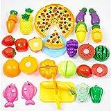 Toyvian 24 Pezzi Bambini Che cucinano Il Taglio Fingi di Giocare Set di Giocattoli Cibo vegetale Frutta Pane Giocattolo Regalo per i più Piccoli