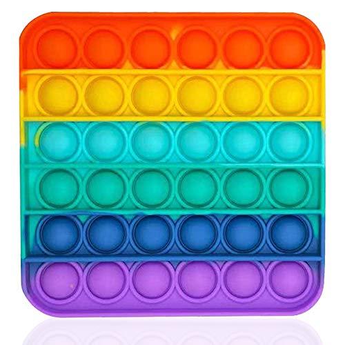 Bdwing Silicona Sensorial Fidget Juguete, Push Pop Bubble Sensory Toy, Autismo Necesidades Especiales Aliviador del Antiestrés del Juguetes para Niños Adultos Relajarse (Rainbow-S)