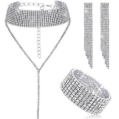 Women Crystal Jewelry Set Bridal Wedding Rhinestone Choker Bracelet Dangle Earrings