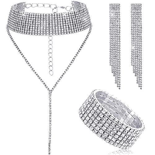 Women Crystal Jewelry Set Bridal Wedding Rhinestone Choker Bracelet Dangle Earrings (Silver)