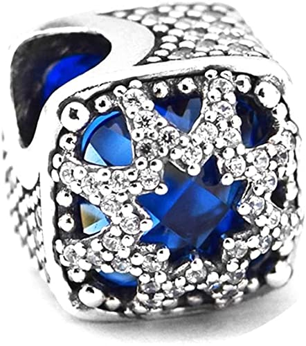 Regalo de Navidad Azul Glacial Beauty Charm Beads Authentic 925 Sterling Silver DIY FITS PARA PANDORA ORIGINAL BARELETOS JOYERÍA DE MODA
