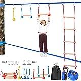 Slackline Equipo de entrenamiento de obstáculos para colgar, Slackline Monkey Bar, kit portátil Slack Line Monkey Bars Kit Slack Line Kits de línea Slack Sport Balance Trainer Rope