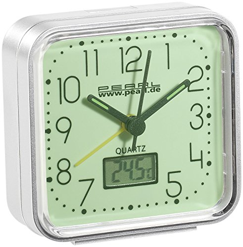 PEARL Quarzwecker: Quarz-Wecker, nachleuchtend, mit Digital-Thermometer (Wecker leuchtet im Dunkeln)