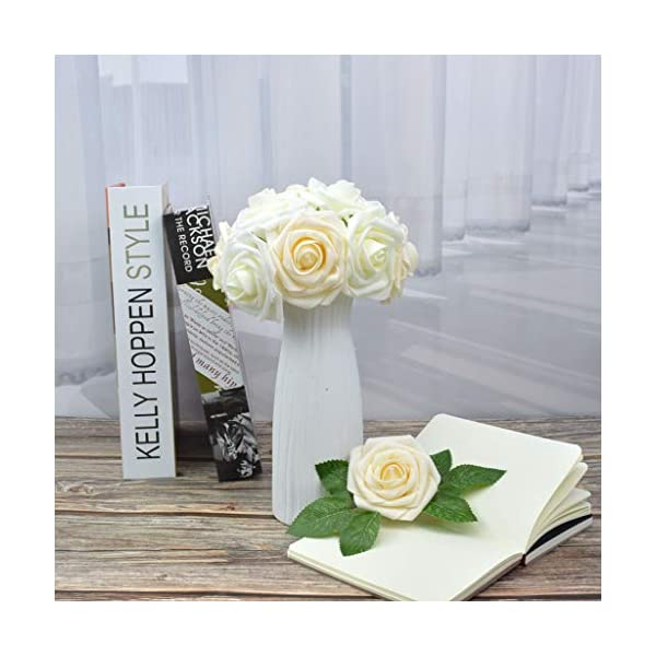 DerBlue 60 rosas artificiales de aspecto real, rosas artificiales de espuma para decoración de ramos de boda, centros de…