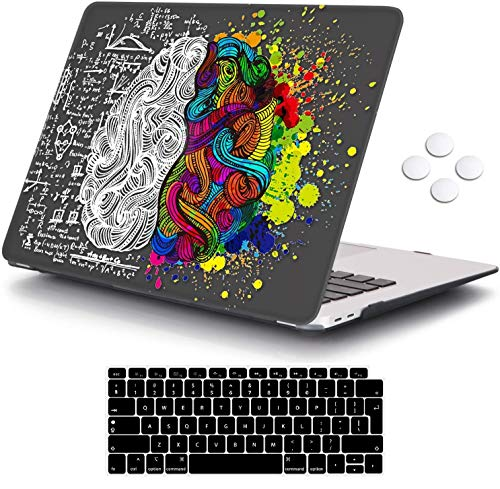 MacBook Air 13 inch Case 2020 2019 2018 Release A2337 M1 A2179 A1932, iCasso Plastic Hard Shell Case Cover and Keyboard Cover Only Compatible MacBook Air 13'' with Touch ID Retina Display - Brain