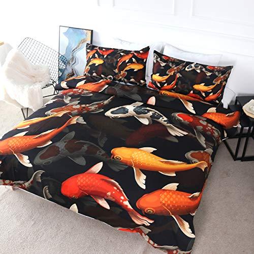 BlessLiving 3D Printed Bedding Set Comforter Covers Sets & 2 Pillow Cases Bed Duvet Cover 3 Pieces Art Bedset (Koi Carps,Single)