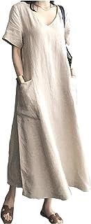 [オーバーザムーン] 【在庫処分セール】ワンピース Vネック シンプル ロング 無地 半袖 上品 着痩せ ポケット付き 体型カバー M~2XL レディース