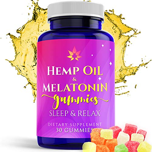 Hemp Melatonin Gummies Sleep Aid | 5MG Melatonin + 25MG of Natural Hemp Oil Extract in Each Candy | Reduce Stress, Anxiety & Relieve Muscle & Joint Pains | Promote Deep Sleep & Relaxation | 30 Count