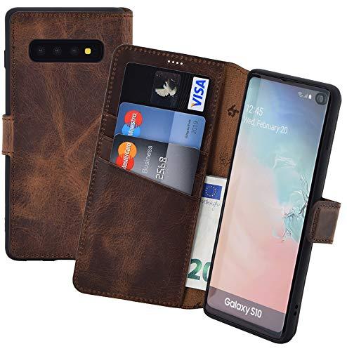 Suncase Book-Style kompatibel mit Samsung Galaxy S10 Hülle (Slim-Fit) Leder Tasche Lederhülle Handytasche Schutzhülle Hülle (Standfunktion & Kartenfach - Bruchfester Innenschale) in antik Coffee