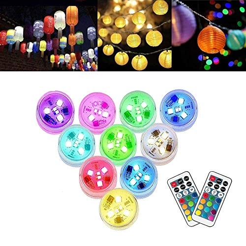 Paper Lantern Lights with Remote Control Multicolored Changing Battery Operated LED Lights Submersible Lamps for Christmas New Year Party Decoration (Pack of 10)