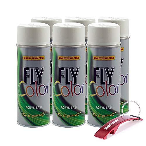 Pintura Acrílica en Spray Profesional + Llavero Bricolemar de Regalo (6 x 400ml   Blanco Brillo   RAL 9010)