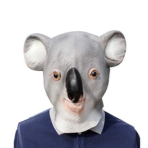 BaronHong Cosplay Maske Latex Helm Dekoration Thema Party Requisiten Halloween Kostüm Zubehör Erwachsene für Koala (grau, M)