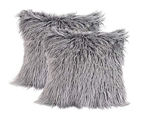 3C Collection 2 Pack Fluffy Cushion Covers Grey 45cm x 45cm, Soft Cuddly Faux Mongolian Fur Cushion Cover for Bed, Couch Decorative Furry Throw Pillow Covers