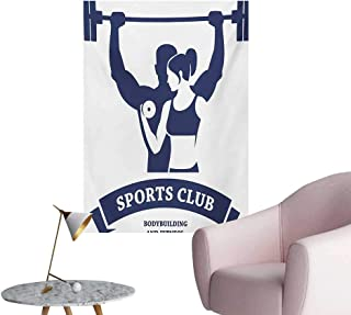 Anzhutwelve Fitness Wall Sticker Decals Sports Bodybuilders Club Man and Woman with Dumbbells Muscles Biceps FormDark