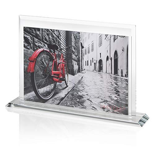 OMODOMO - Cornice di Cristallo per Foto 24x18 cm, Realizzata a Mano in Italia. Portafoto da Tavolo, Idea Regalo per Anniversario Matrimonio, Laurea, Nozze d'oro, Cresima. Modello Trilux.