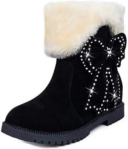 ZHRUI Bottes d'hiver à la Mode pour Femmes Bottes Courtes à la Mode féminine Deux Bottes Style Wear Coton, Rouge, 39 (Couleuré   Noir, Taille   36)