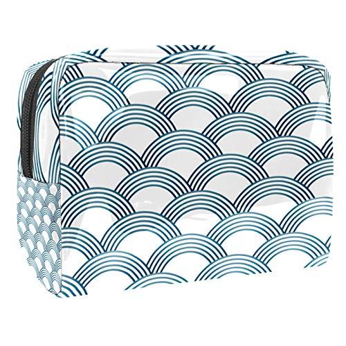 Bolsa de maquillaje portátil con cremallera, bolsa de aseo de viaje para mujer, práctica bolsa de almacenamiento cosmético Sashiko básculas, color blanco y azul